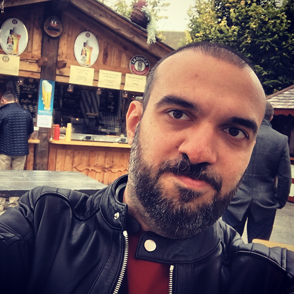 Attila's selfie in front of an Oktoberfest hut.